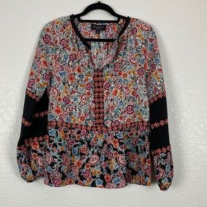 Laundry by Shelli Segal Floral Peasant Top Medium